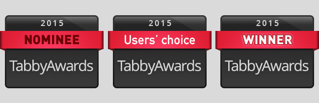 Tabby Awards 2015 badges
